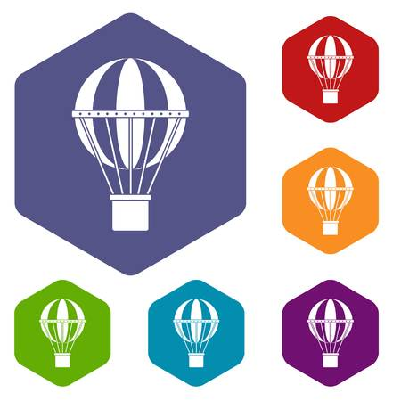 ballooning: Global travel concept icons set hexagon isolated vector illustration