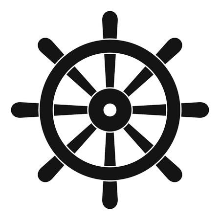 Houten schip wiel pictogram in eenvoudige stijl geïsoleerd vectorillustratie Stockfoto - 77355722