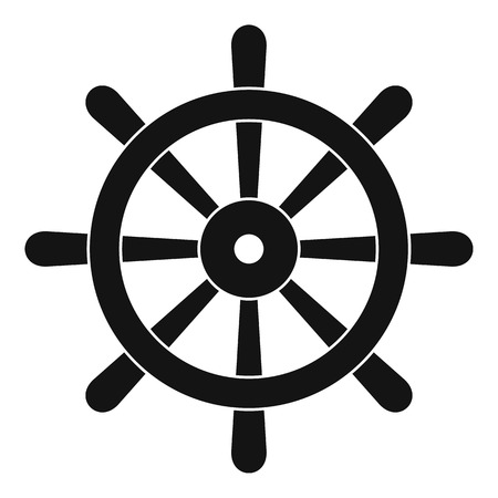 Wooden ship wheel icon in simple style isolated vector illustration Illustration
