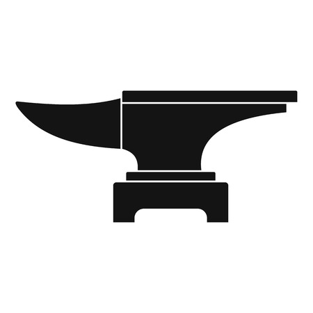 Schwere schwarze Metall Amboss Ikone in einfachen Stil isoliert Vektor krank