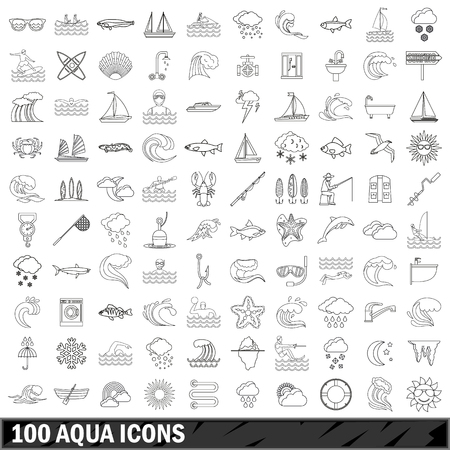 100 aqua icons set, outline style Stock Vector - 77476085
