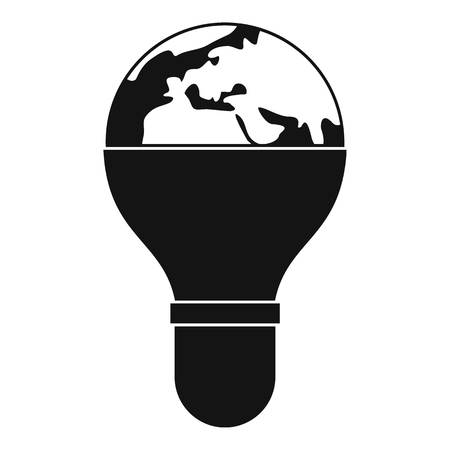 halogen: Light bulb and planet Earth icon simple