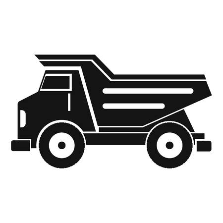 excavation: Dump truck icon in simple style isolated vector illustration. Illustration