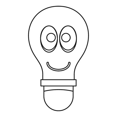 halogen: Smiling light bulb with eyes icon outline