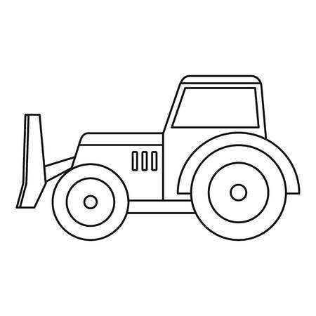 skid: Skid steer loader bulldozer icon in outline style isolated vector illustration.