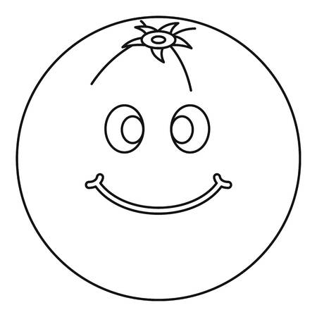 Smiling fruit icon outline