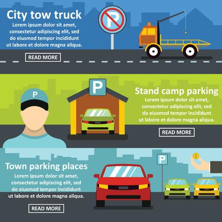 Parking tow banner horizontal concept set. Flat illustration of 3 parking tow vector banner horizontal concepts for web Illustration