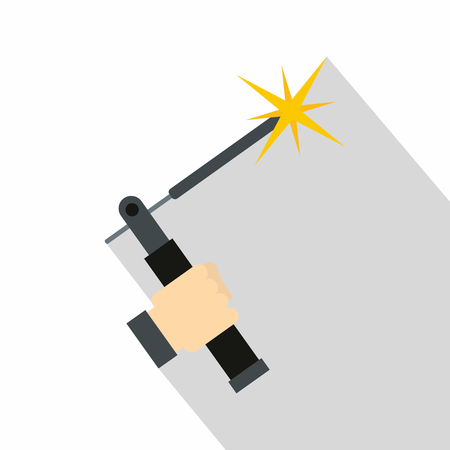 Mig welding torch in hand icon, flat style Illustration