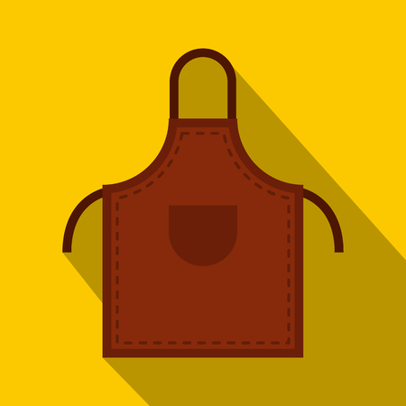 Brown welding apron icon, flat style