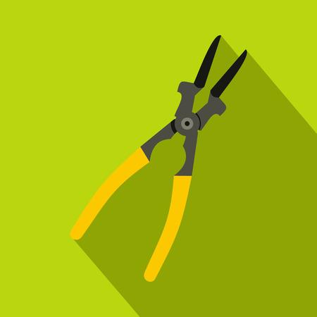Metal welder pliers icon, flat style