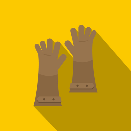 Heat resistant gloves for welding icon, flat style Illustration