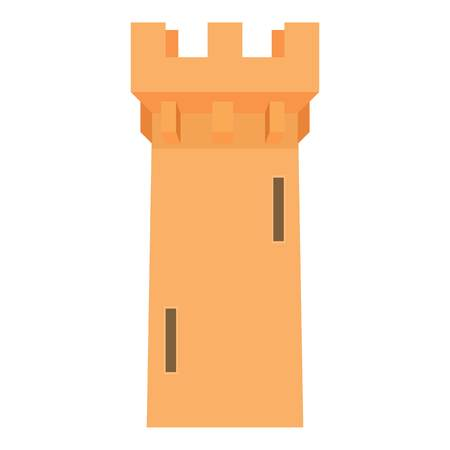Medieval battle tower icon, cartoon style