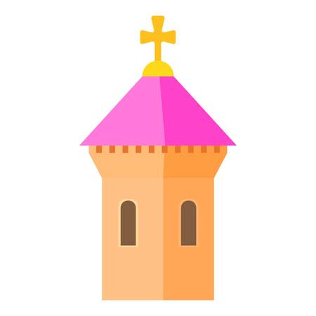 Pink dome of church icon, cartoon style Illustration