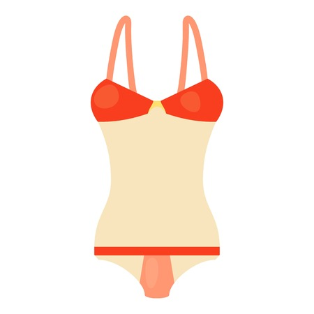 Red and white swimsuit icon, cartoon style Illustration