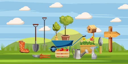 Gardener tools icons set, cartoon style