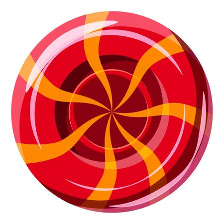 Red sweet lollipop candie icon, cartoon style