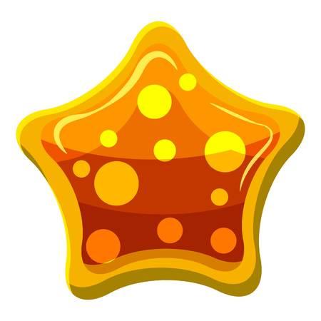 Orange star shaped candy icon, cartoon style