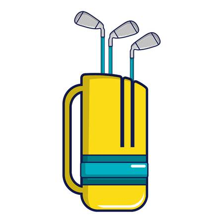 Yellow golf bag full of golf clubs icon