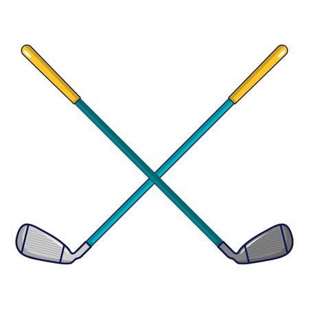 Icône de clubs de golf croisés, style de dessin animé Vecteurs