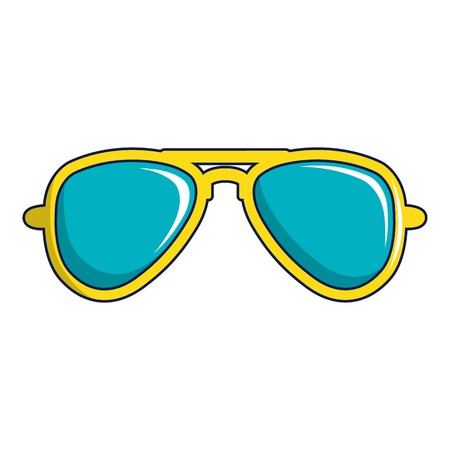 Blue sunglasses icon, cartoon style