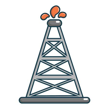 natural gas production: Oil rig icon, cartoon style