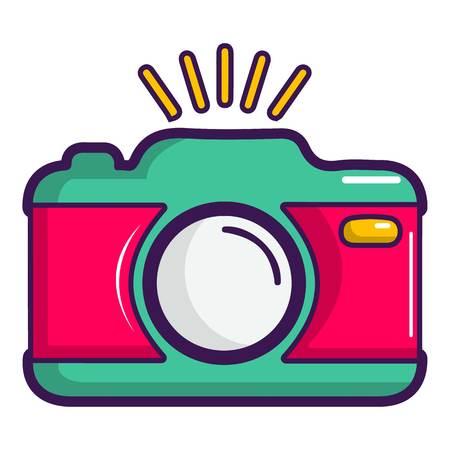 Colorful photo camera icon, cartoon style Illustration