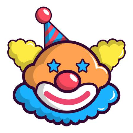 Funny clown head icon, cartoon style Illustration