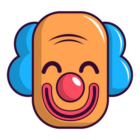 comedy: Smiling clown head icon, cartoon style