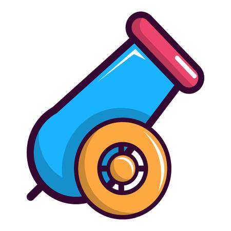 Colorful circus cannon icon, cartoon style