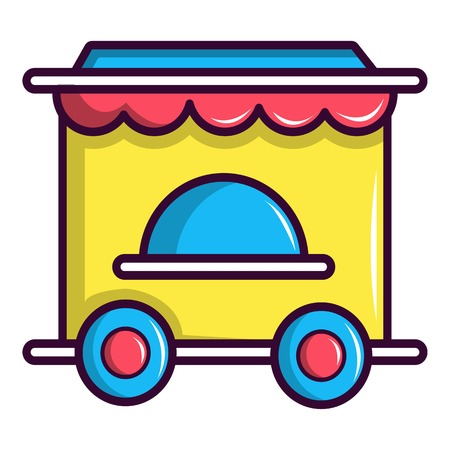 Circus ticket booth icon, cartoon style