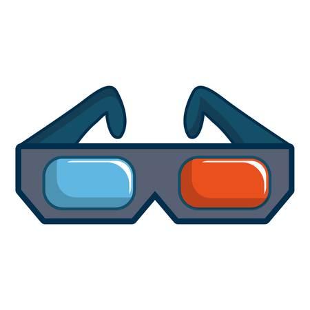 3D cinema glasses icon, cartoon style