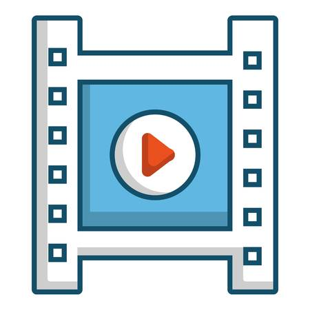 movie film: Film strip with play sign icon, cartoon style Illustration