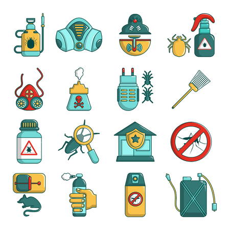 Pest control tools icons set, cartoon style