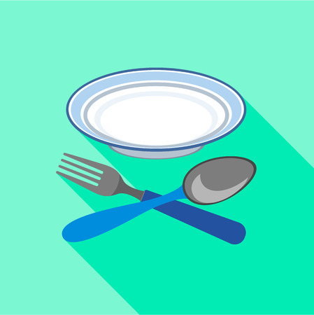 Plate with fork and spoon icon, flat style