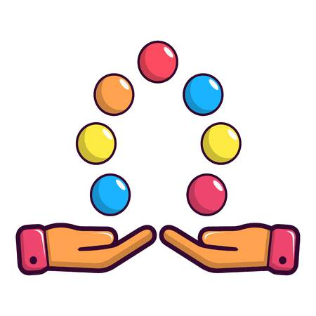 Juggler hands and balls icon, cartoon style