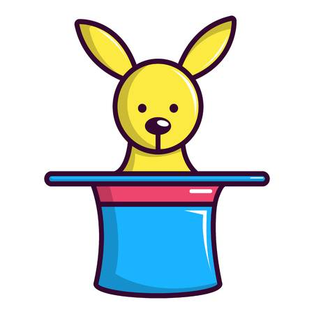 Rabbit appearing from a top magic hat icon