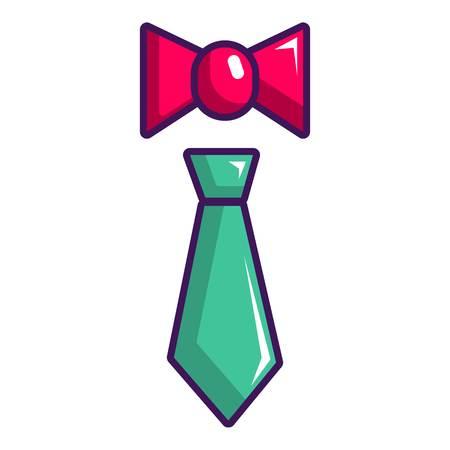 Icono de corbata y corbata, estilo de dibujos animados Ilustración de vector