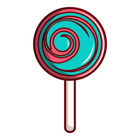 Pink and blue lollipop icon, cartoon style Illustration