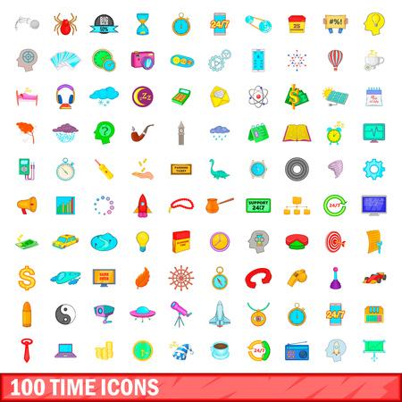 100 time icons set, cartoon style