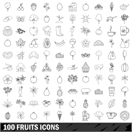 100 fruits icons set, outline style Illustration