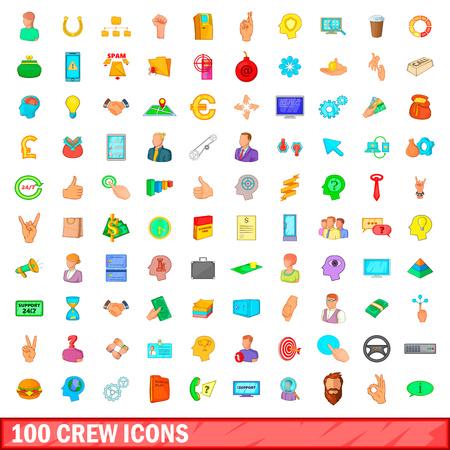 100 crew icons set, cartoon style