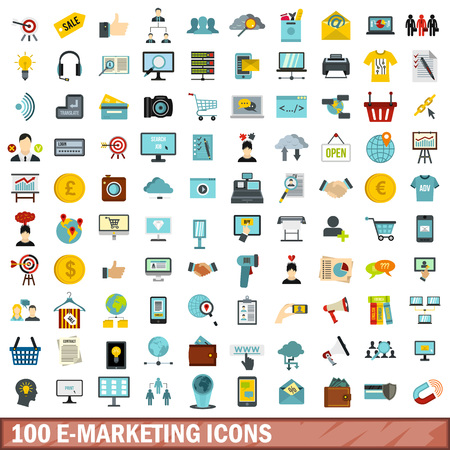 100 e-marketing icons set, flat style 向量圖像