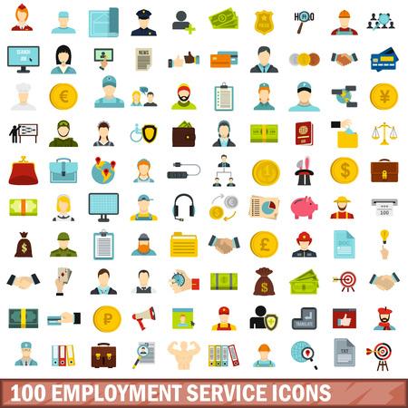 100 Beschäftigungsservice-Ikonen stellten, flache Art ein