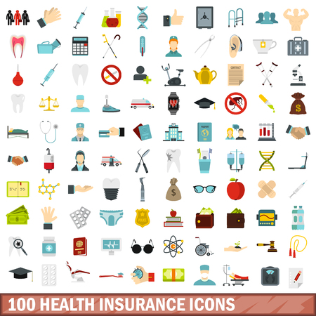 hearing protection: 100 health insurance icons set, flat style