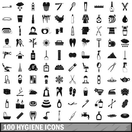 bathroom mirror: 100 hygiene icons set, simple style