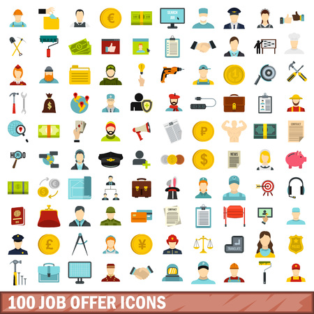 100 job offer icons set, flat style