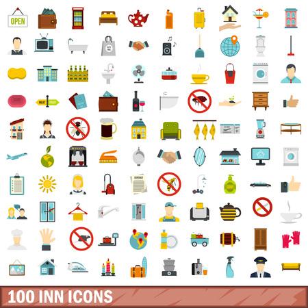 100 inn icons set, flat style