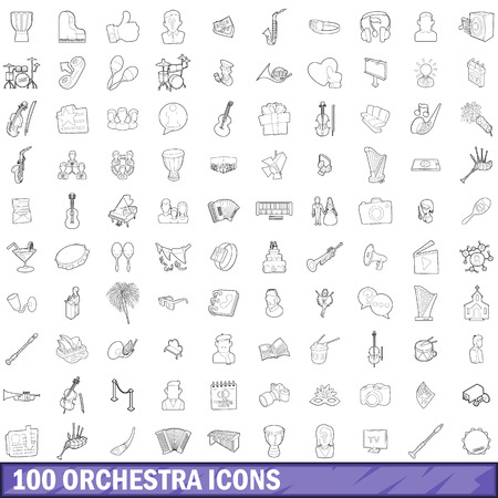 polyphony: 100 orchestra icons set, outline style