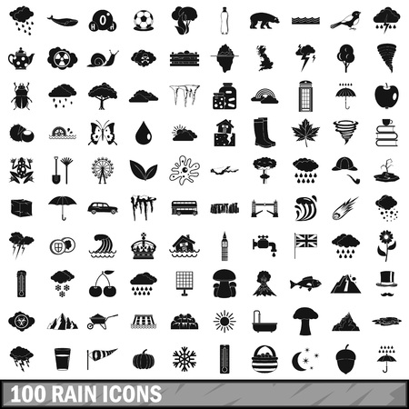 100 rain icons set, simple style