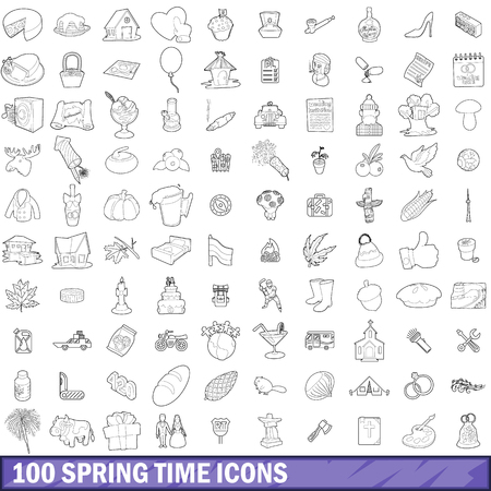 100 spring time icons set, outline style Illustration